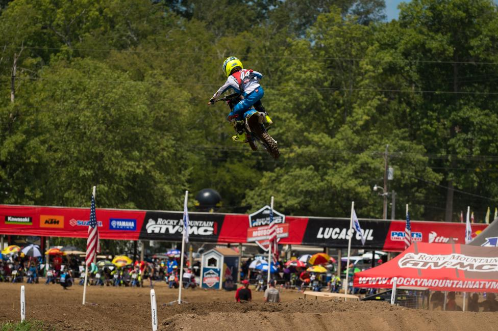 Ryder Ellis launched over the jump to grab the moto one win in the 51cc (7-8) Limited class.