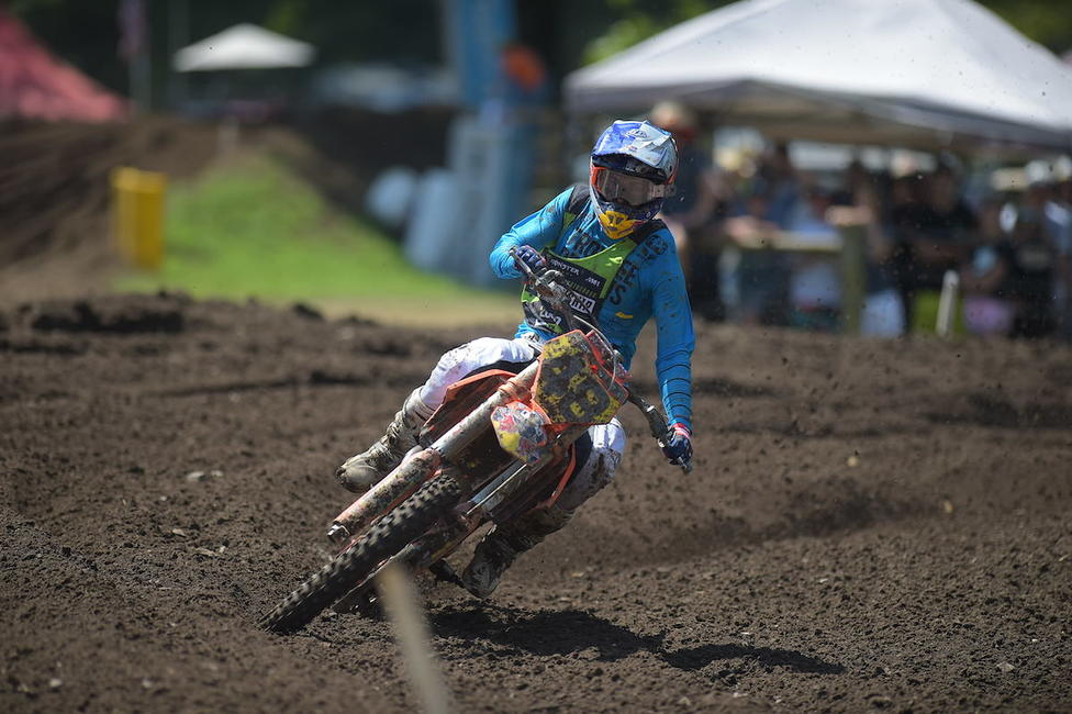 Nate Thrasher rode to a determined moto win in 250 B.Photo: Ken Hill